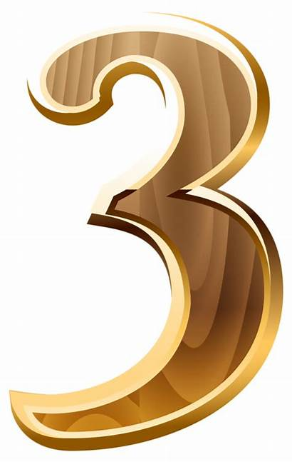 Number Clipart Gold Numbers Three Transparent Letters