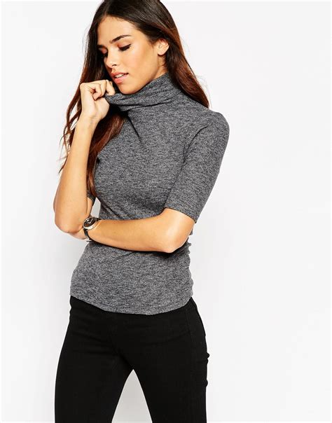 slim fit turtle neck top asos turtle neck top in textured rib with sleeve