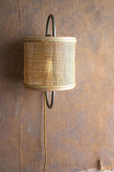 iron rattan wall sconce light