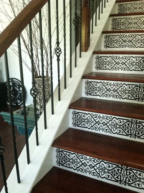 Removable Stair Riser Vinyl Decal staircase riser vinyl decal scroll pattern removable stair