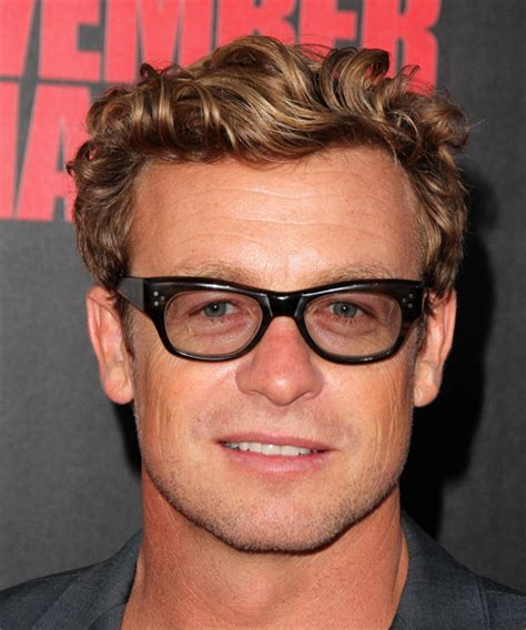 Simon Baker Short Wavy Casual Hairstyle   Dark Blonde Hair