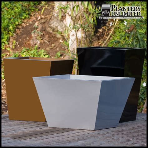 square outdoor planters modern tapered planters fiberstone like outdoor tapered planters