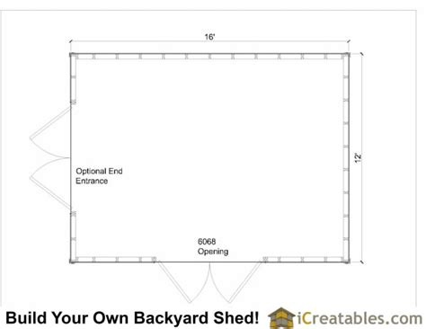Shed Floor Plans by 12x16 Shed Plans Gable Shed Storage Shed Plans
