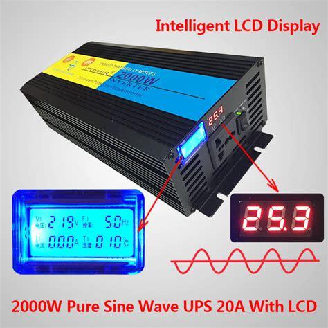 2000w sine wave power inverter 24v dc to 220v 240v ac lcd ups charger ebay