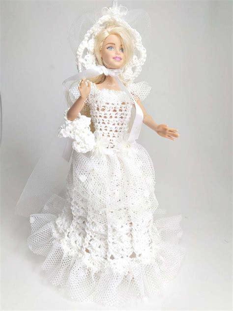 Scegli la consegna gratis per riparmiare di più. Abito vestito da sposa barbie realizzato all'uncinetto bianco tulle... | su MissHobby