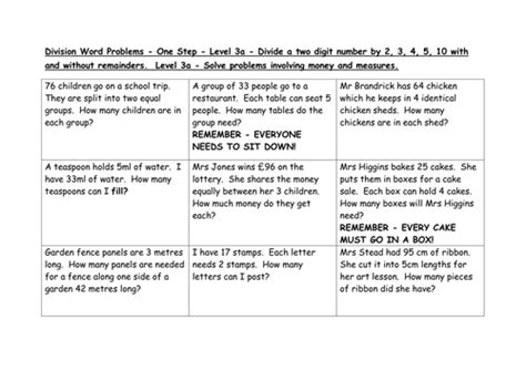 division word problems levels 3a 4c 4b by emmastead teaching resources