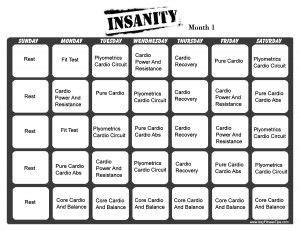 insanity workout calendar      workout