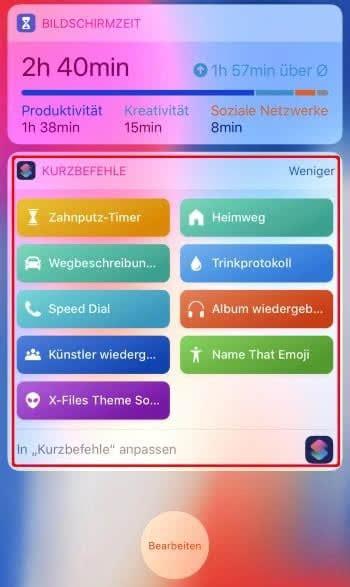ios kurzbefehle erstellen speichern mit iphone
