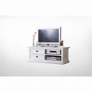 Meuble Tv Banc : meuble tv en bois blanc 2 tiroirs royan ~ Teatrodelosmanantiales.com Idées de Décoration