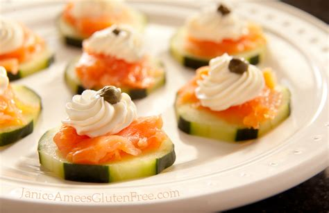 hors d ouvres janice amee s gluten free salmon cucumber hors d oeuvre