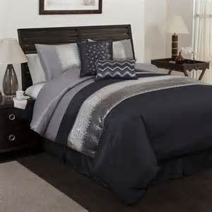 6pc black gray sequin pieced embroidered faux silk comforter set queen ebay