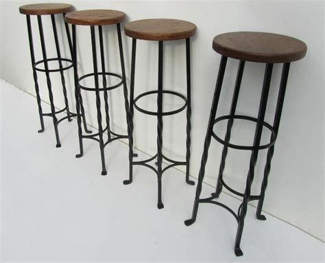 Vintage Wrought Iron Bar Stools, France, Set Of 4 For Sale