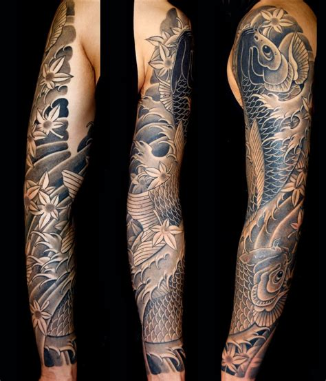 black grey japanese koi sleeve tattoo slave   needle