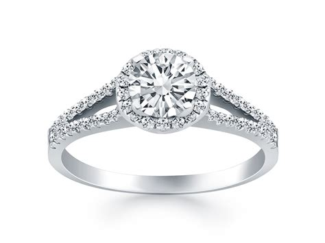 diamond halo split shank engagement ring in 14k white gold richard cannon jewelry