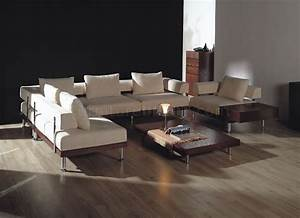 modern two tone sectional sofa in microfiber w side table With sectional sofa side tables