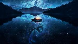 #lamp, #stars, #boat, #lake, #night, #mountains, #forest ...