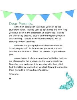letters to parents from teachers templates student welcome template student teachers and students