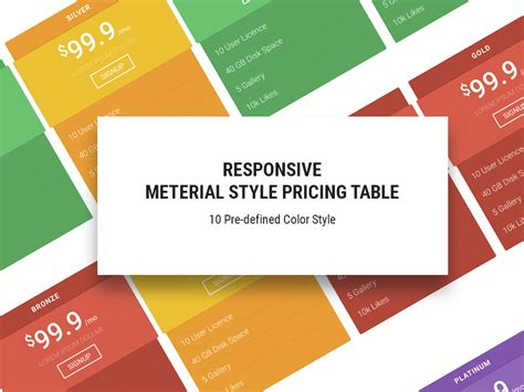 Free Html5 Templates Material Free Responsive Pricing Table Template Uicookies