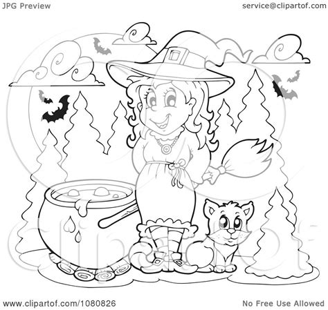 clipart outlined halloween witch   cauldron royalty