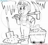 Miner Coloring Mining Clipart Cave Illustration Vector Happy Outlined Royalty Visekart Getcolorings Printable Without sketch template