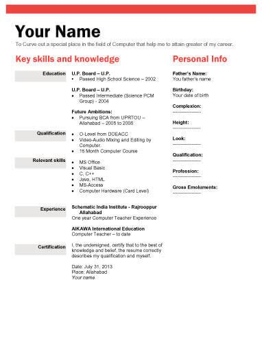 Free Matrimonial Resume Format by Biodata What It Is 7 Biodata Resume Templates