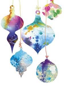 watercolor ornaments card by masha d 39 yansmasha watercolor mischief