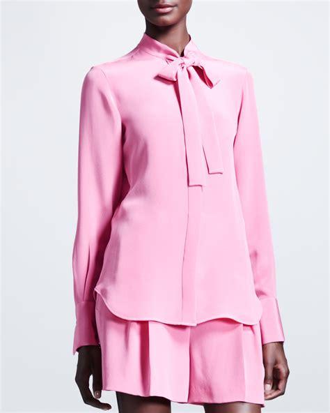 silk tie neck blouse valentino marocain silk tie neck blouse in pink lyst