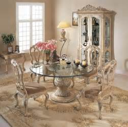 florence round glass pedestal table dining room set by orleans international home gallery stores