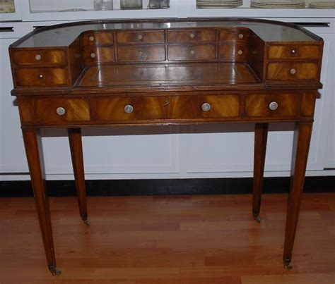 Antique English Mahogany Wooden Ladies Desk From