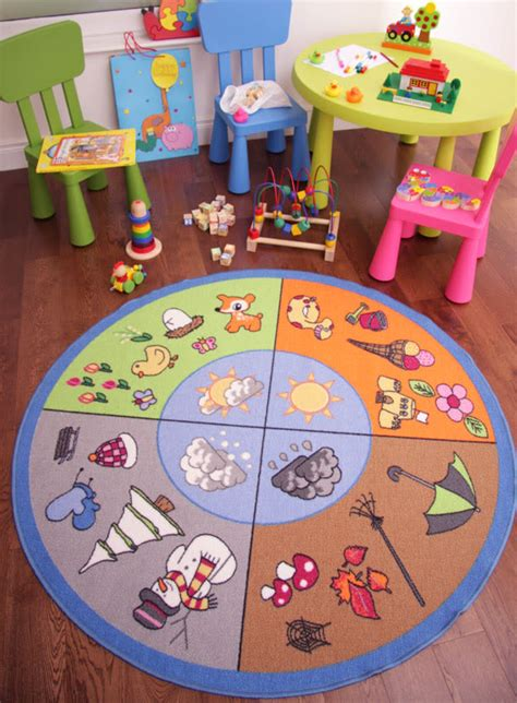 Non Slip Backing For Rugs by Fun Educational 4 Seasons Kids Mat Non Slip Quality Round