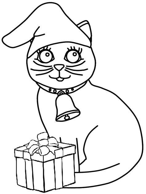 Christmas Cat Coloring Pages   GetColoringPages.com