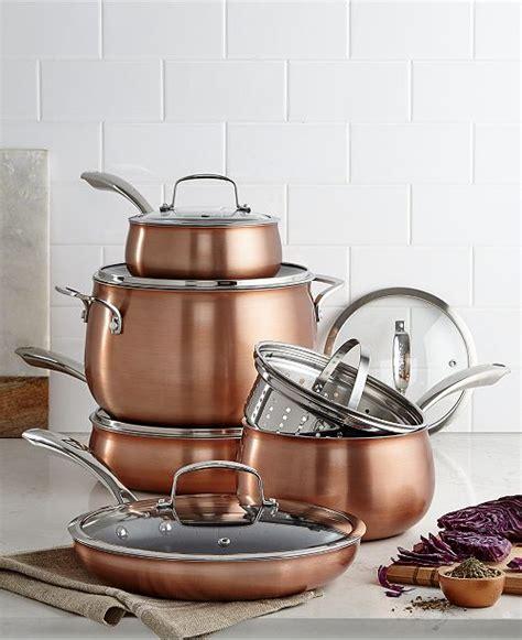 belgique copper translucent  piece cookware set created  macys cookware sets macys