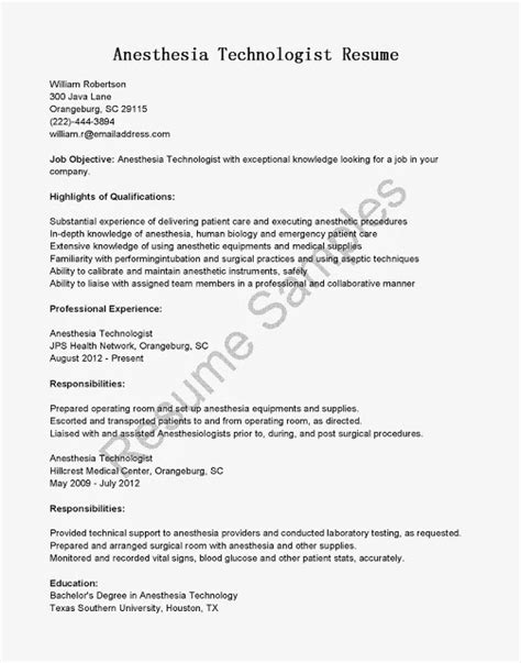 Crna Resume Exles by Great Sle Resume Resume Sles Anesthesia Technologist Resume Sle