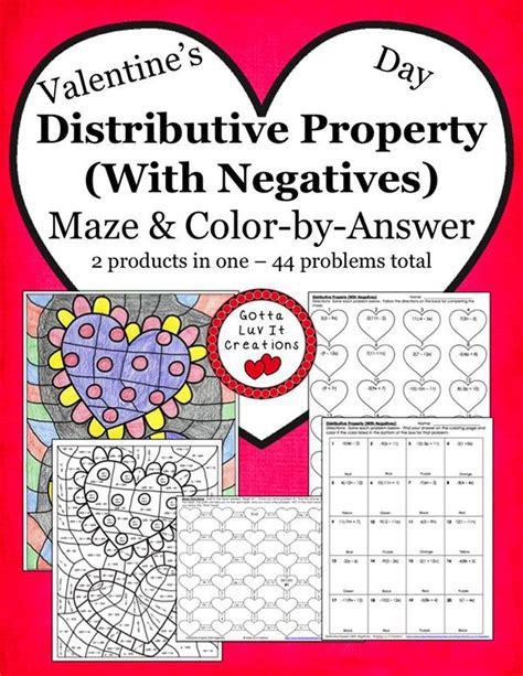 Valentine's Day Math Distributive Property Maze & Color By Answer Activity Set Valentines