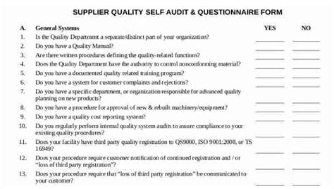 11 supplier questionnaire form sle free sle