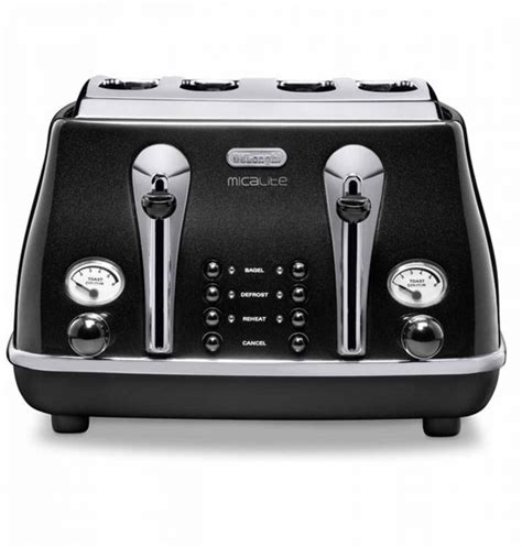 Delonghi Icona Kettle And Toaster Black by Delonghi Ctom4003bk Icona Micalite Vintage 4 Slice Retro