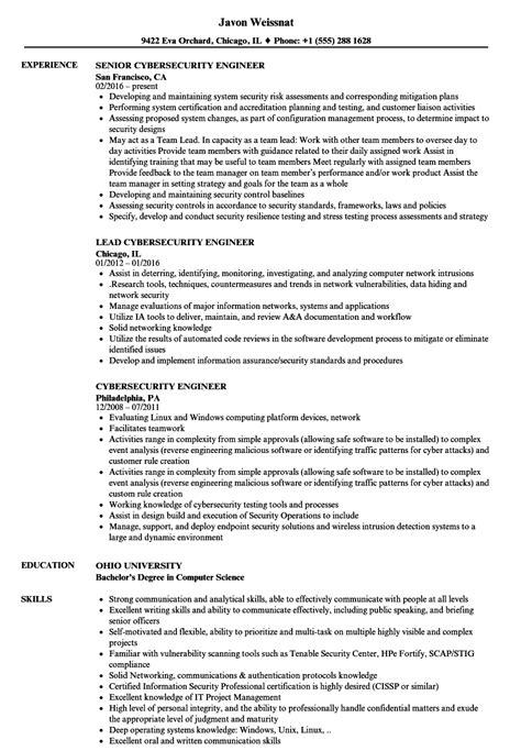 Cyber Security Resume by Cybersecurity Engineer Resume Sles Velvet