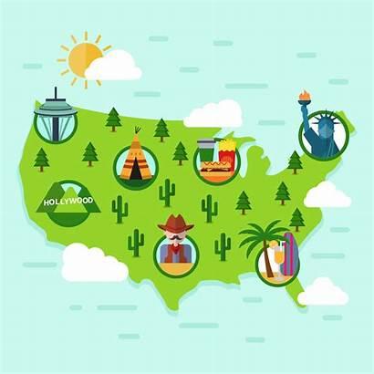 Map Vector Landmark States United Flat Clipart