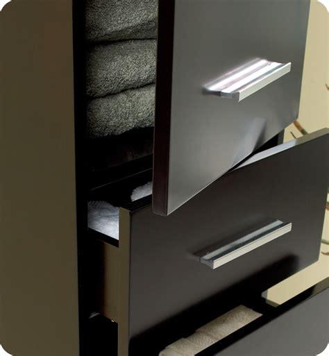 fresca espresso bathroom linen side cabinet w 3 pull out