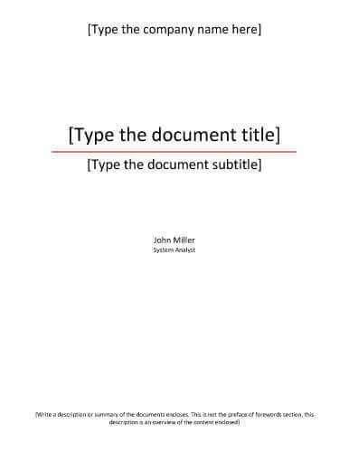 Title Page Template 7 Report Cover Page Templates For Business Documents