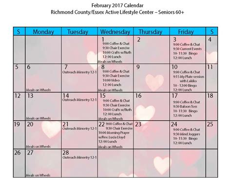 February 2017 Calendar Of Events  Richmond County Alc
