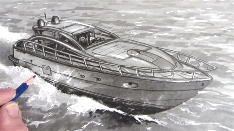 How To Draw A Water Boat by How To Draw A Boat Speed Boat On Water