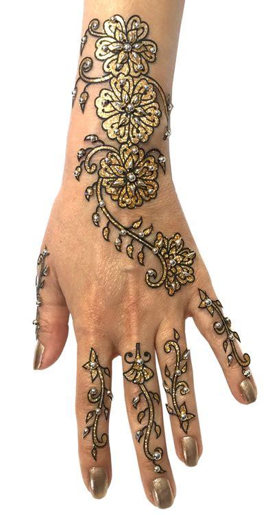 piece glitter  beads henna temporary tattoo set  gold