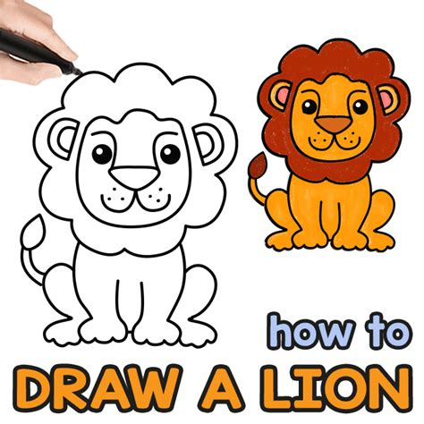 draw  lion step  step drawing guide easy