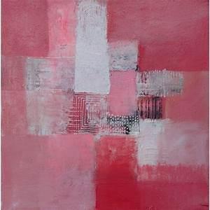 Tableau Rose Et Gris : petit tableau abstrait rose et blanc 50x50 cm ~ Teatrodelosmanantiales.com Idées de Décoration