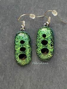 Grosse Boucle D Oreille Fantaisie : boucle d 39 oreille en fusing murano or et vert ~ Melissatoandfro.com Idées de Décoration