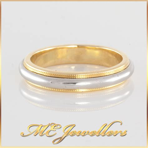 authentic co wedding ring band platinum 18k yellow gold two tone ebay