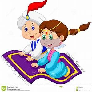 Cartoon aladdin on a flying carpet traveling stock vector for Aladdin carpet animation