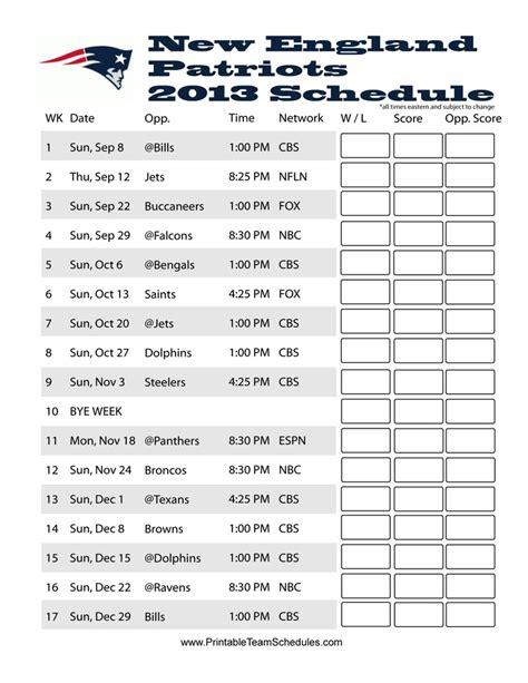 england patriots  schedule game day