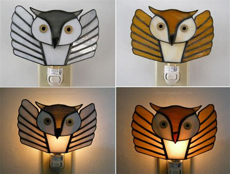 stained glass owls and flying owl stained glass nightlights